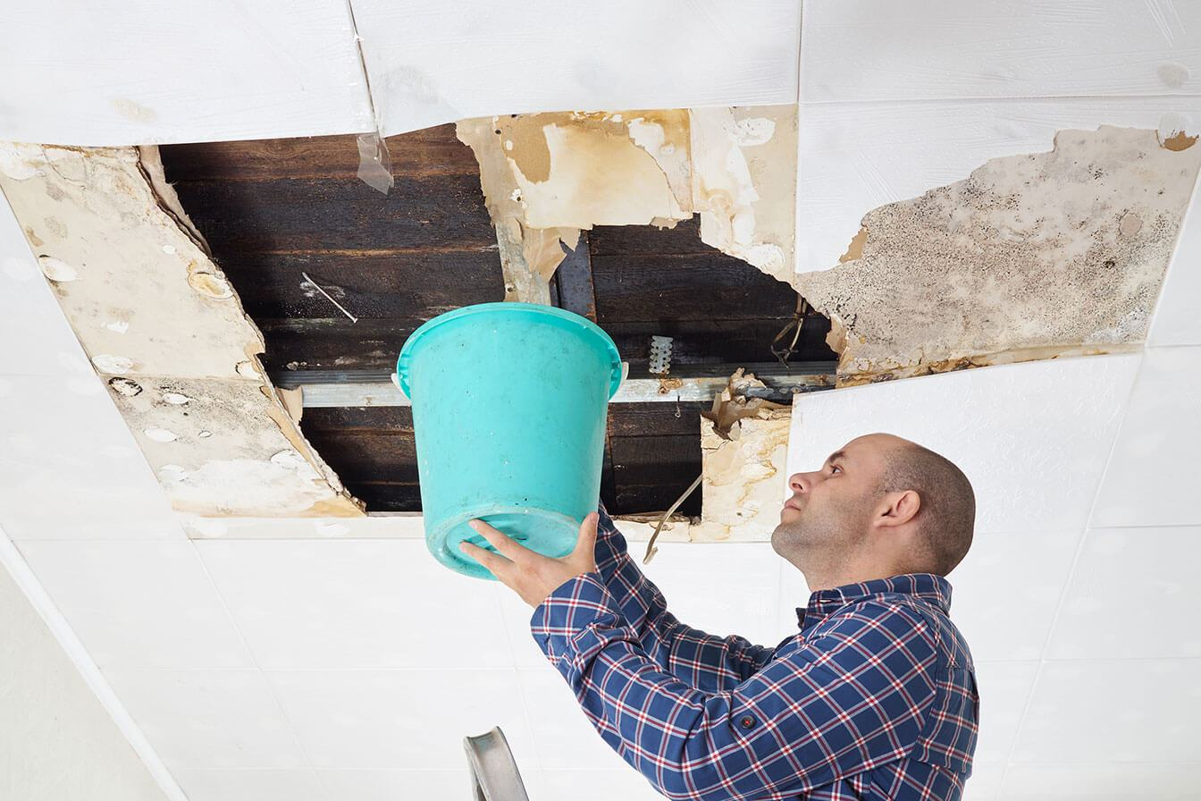 water damage in the ceiling from pipe break