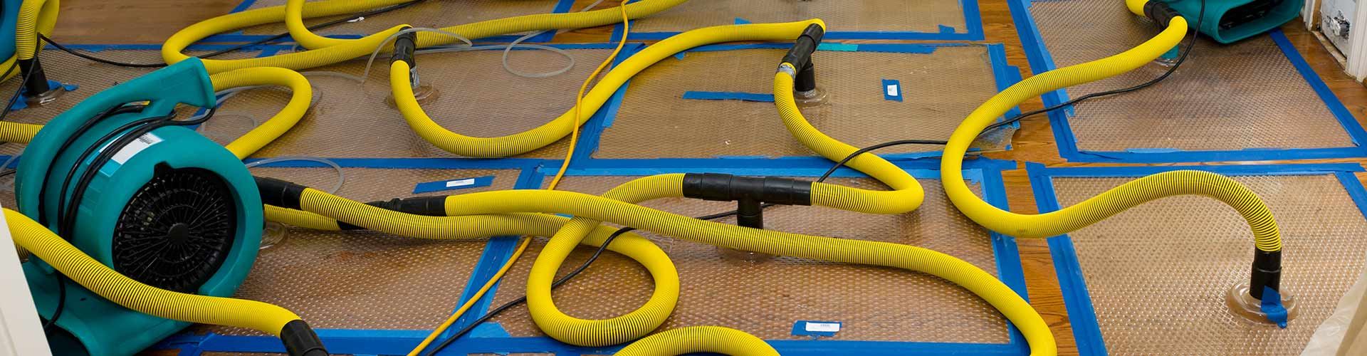 water damage wood floor drying system
